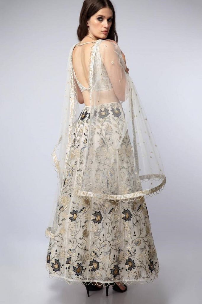 Off-White Embroidered Lehenga
