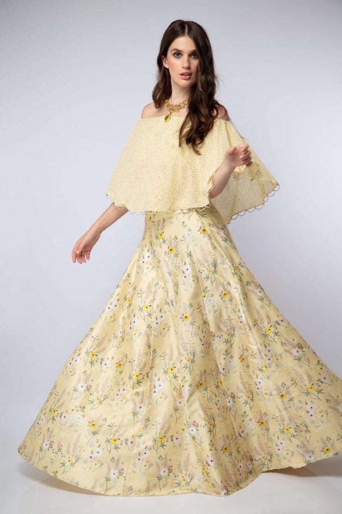 Yellow Off-Shoulder Lehenga