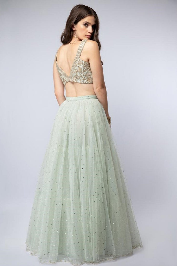 Mint V-Neck Embroidered Lehenga