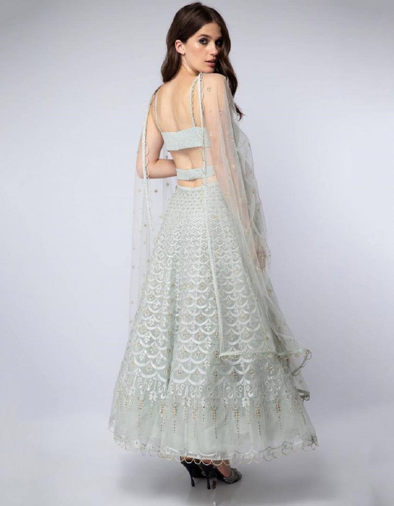 Powder Blue Embroidered Lehenga