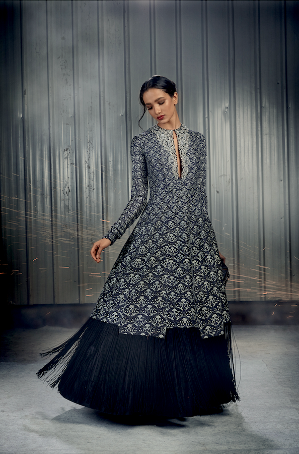 Adorne Black Fringed Anarkali - Ready To Ship