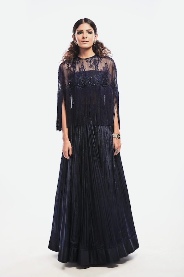 Embroidered Fringed Cape Top with Skirt