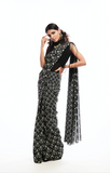 Fringed Blouse & Black Print Sari