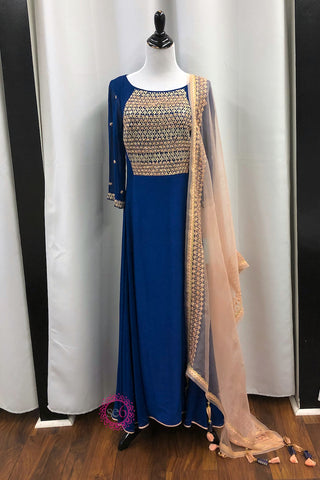 Light Blue Chevron Anarkali - Sample Sale