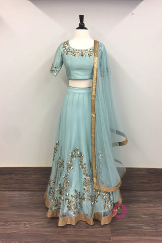 Blue Lehenga with Blue Blouse and Dupatta - Ready to Ship
