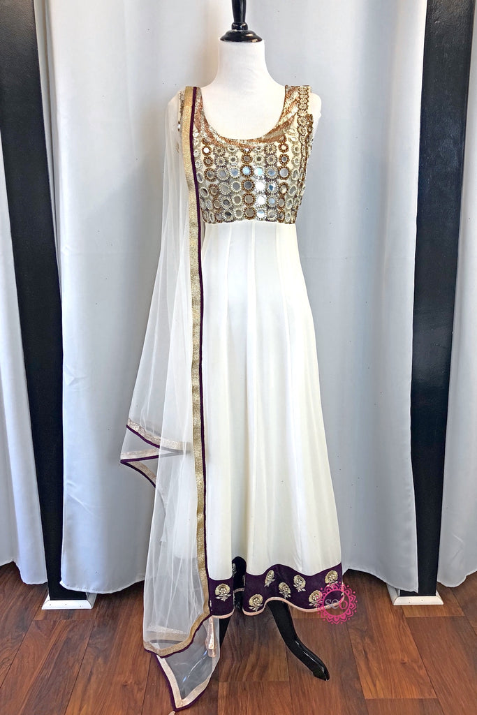 Ivory Mirrored Anarkali- Ready to Ship