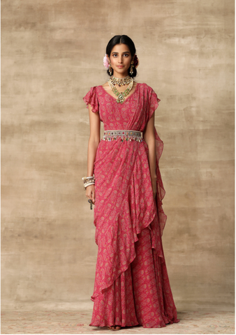 Bright Coral Embroidered Sari