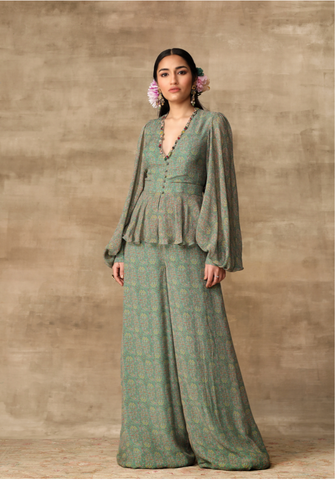 Rosebuds and cherries slip and dhoti set