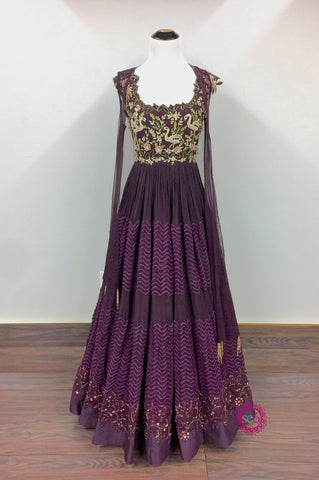 The Arcadia Burgandy Anarkali