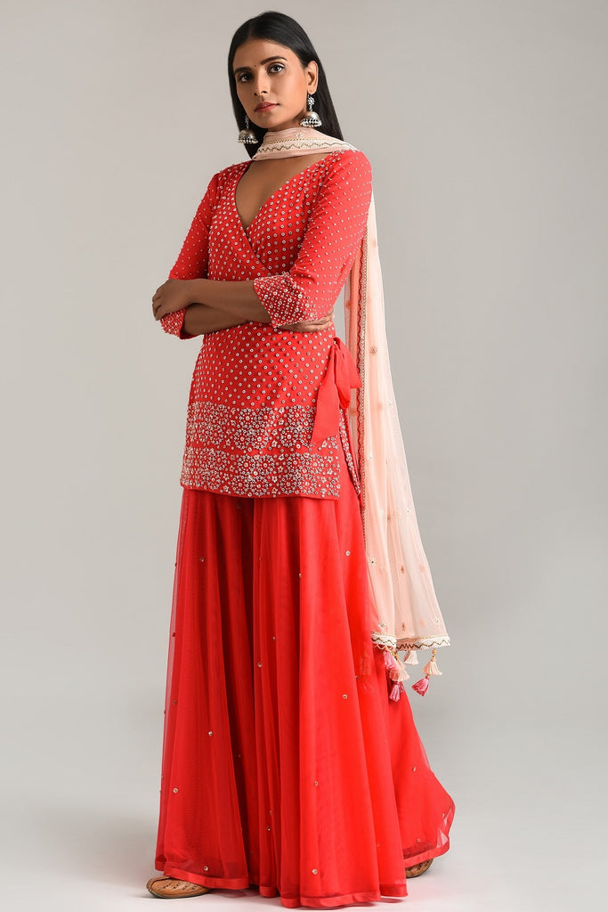 Red Embroidered Kurta with Wrap and Garara
