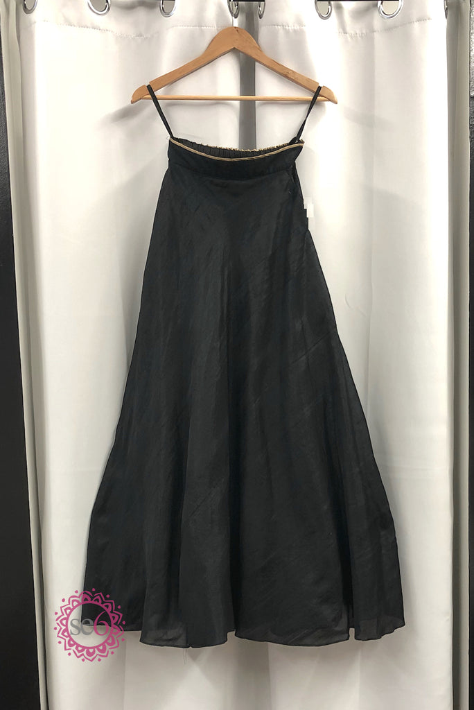 Black Silk Pocketed Skirt - Ready to Ship