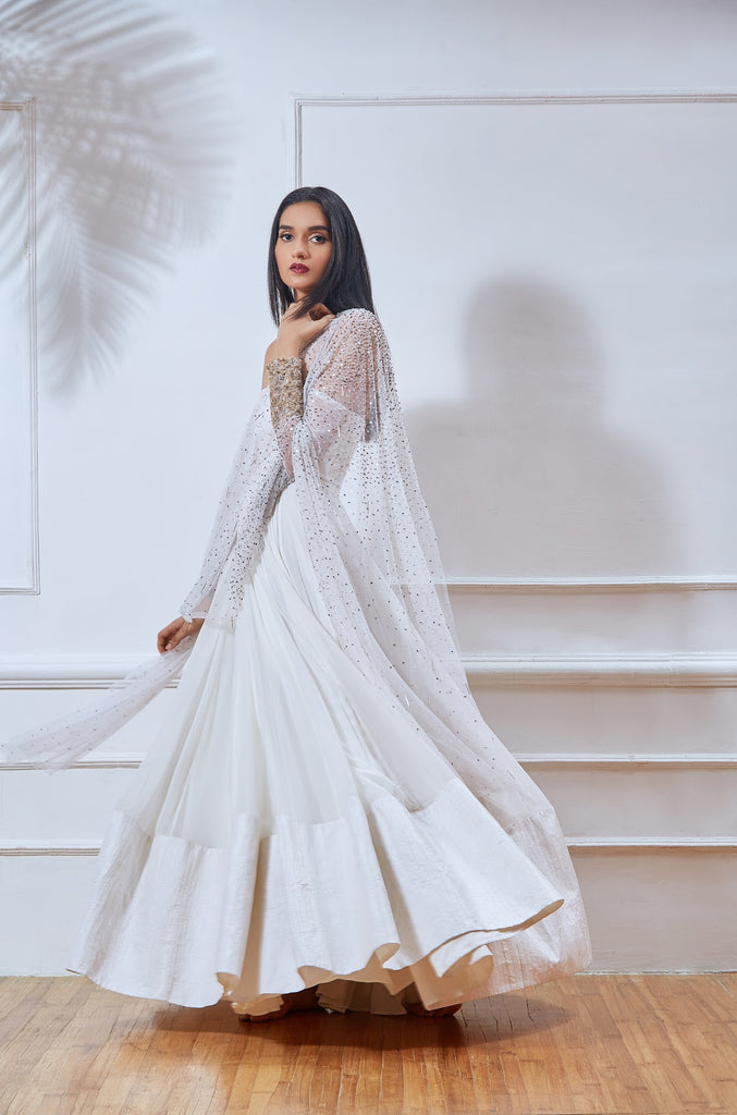 White Off-The-Shoulder Anarkali with Embellish Dupatta