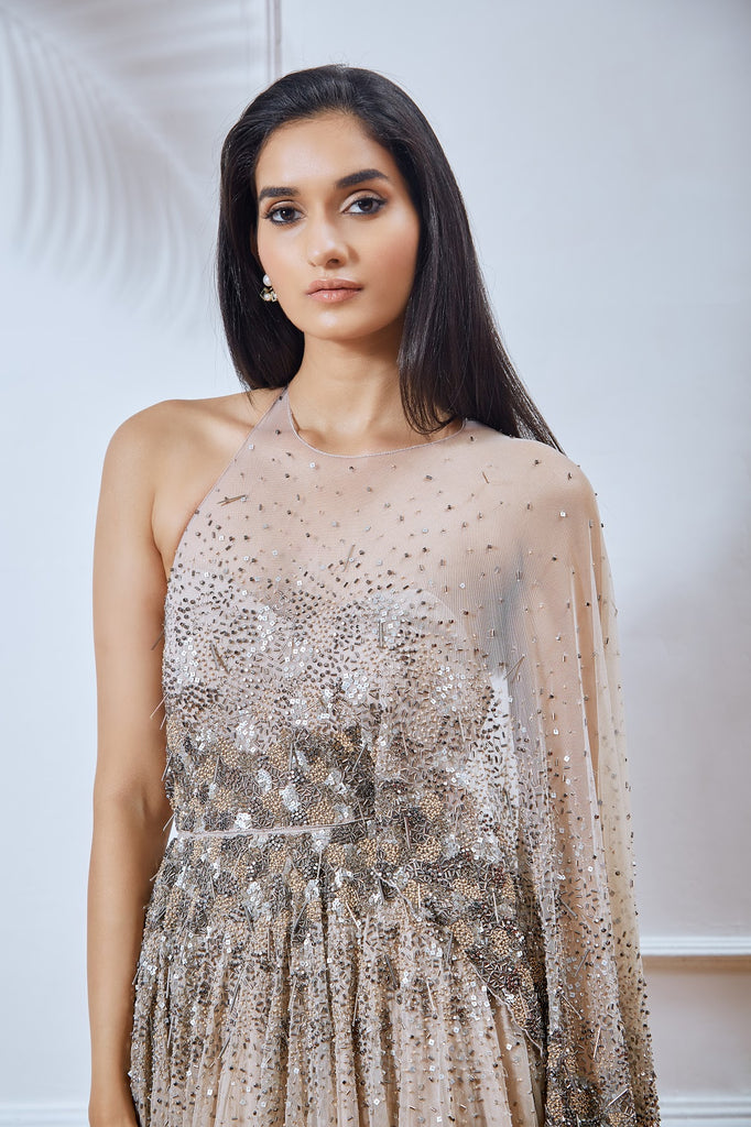 Nude Embellished Net Cape