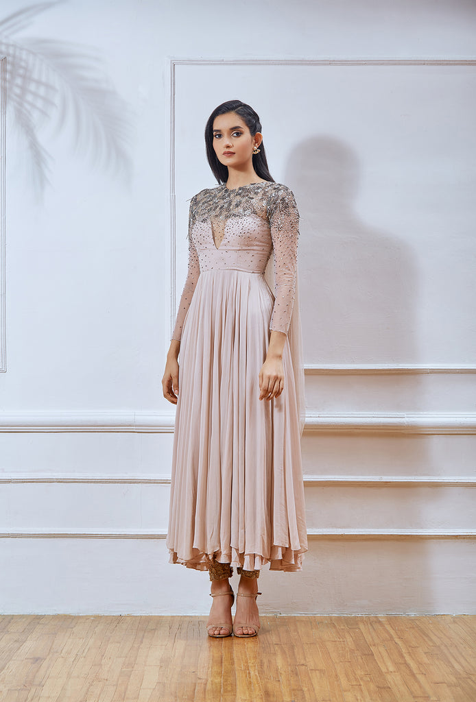 Dusty Pink Full Sleeve Embellished Short Anarkali