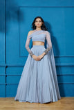 Blue Lehenga with Blue Blouse and Dupatta