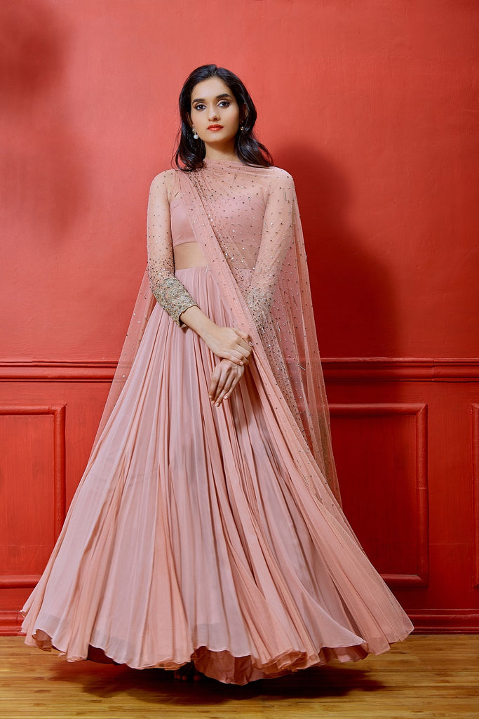 Pink Full Sleeve Anarkali with Embellished Dupatta