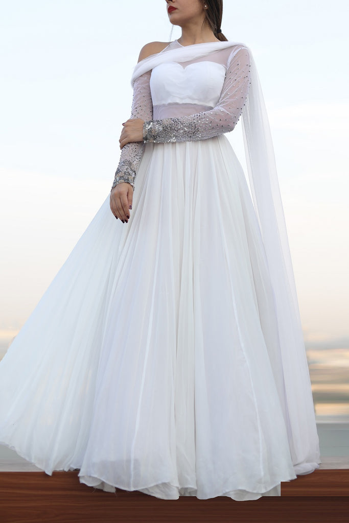 White One Shoulder Anarkali