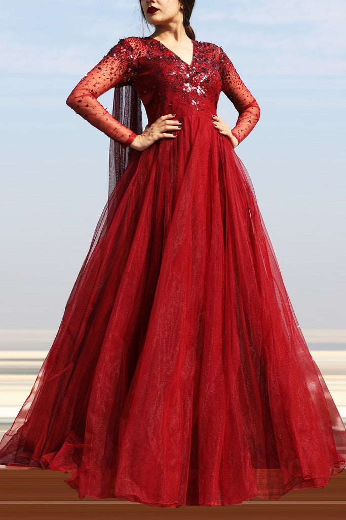 Maroon V-Neck Embellished Gown