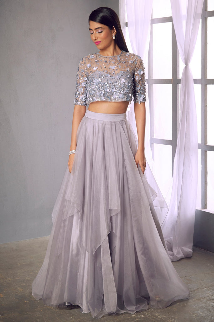 Lilac grey embellished blouse with layered skirt