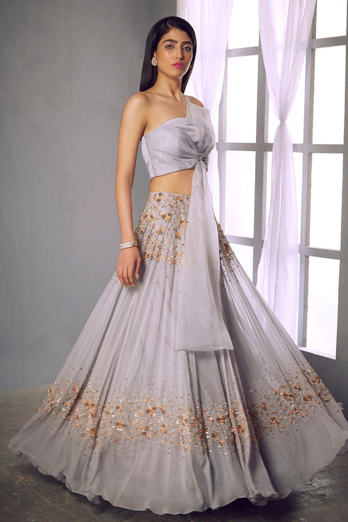 Lilac grey embellished lehenga with ribbon blouse