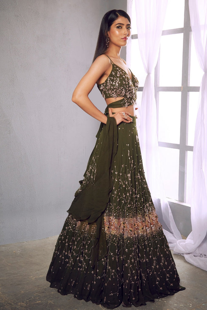 Olive green embroidered lehenga