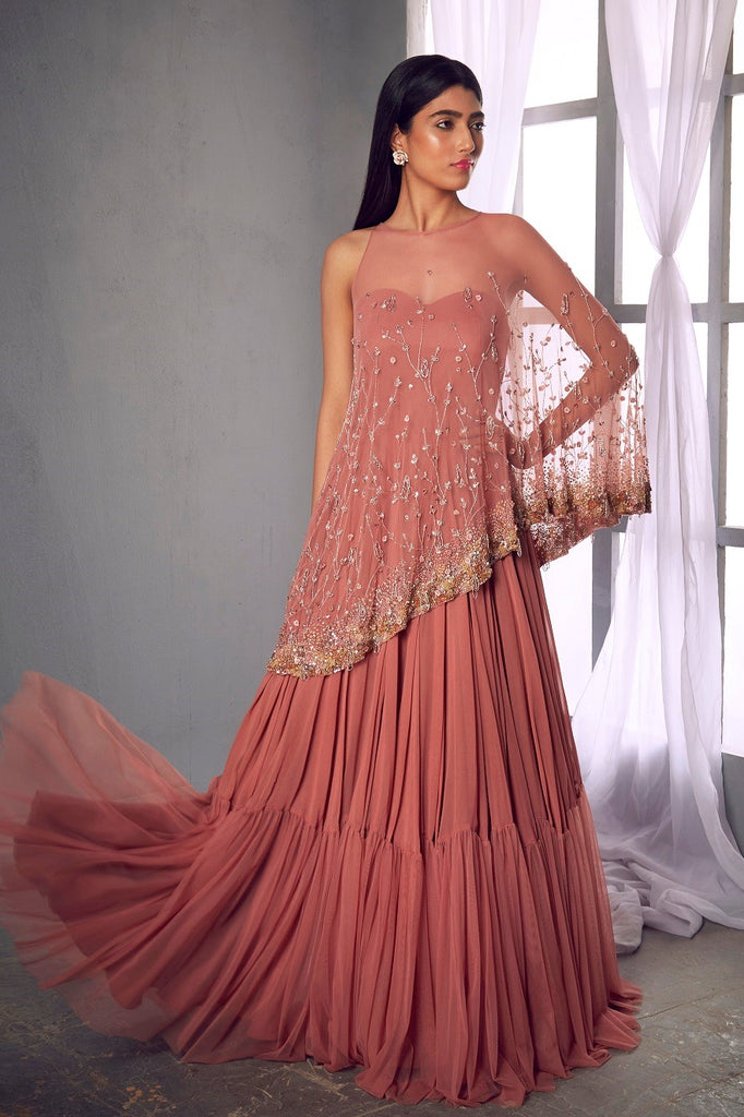 Rose pink anarkali gown with a cape