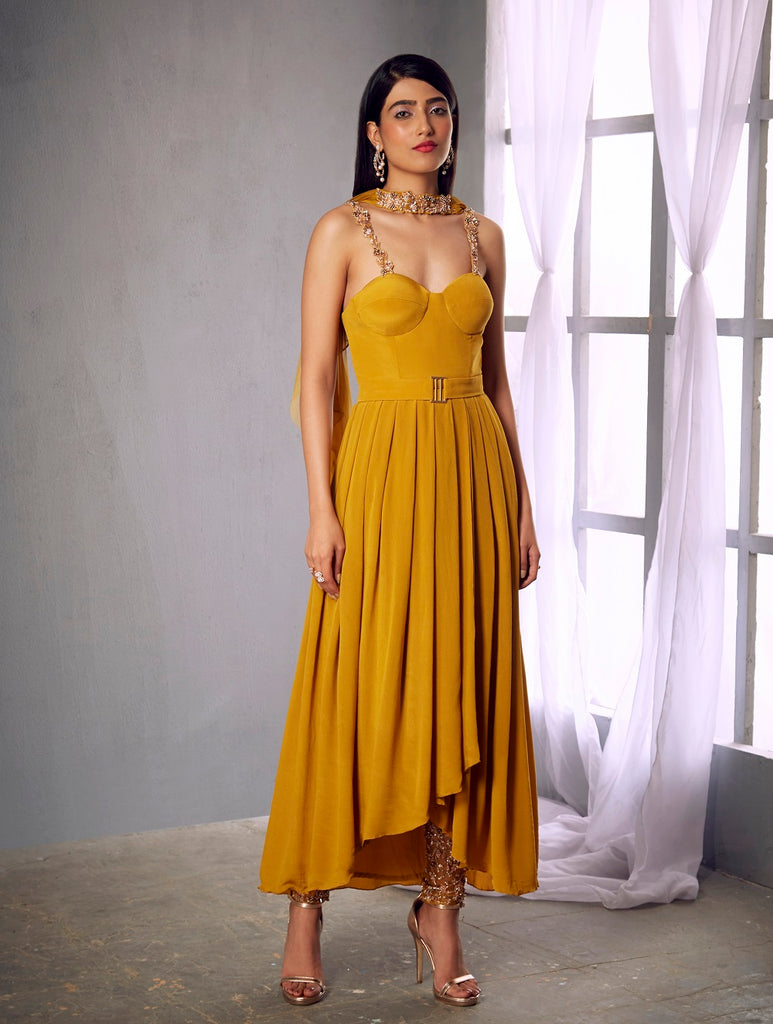 Mustard crepe pleated anarkali