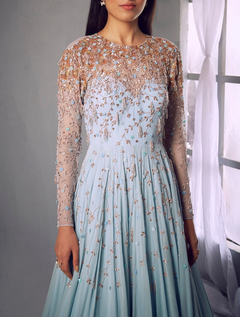Powder blue embroidered anarkali