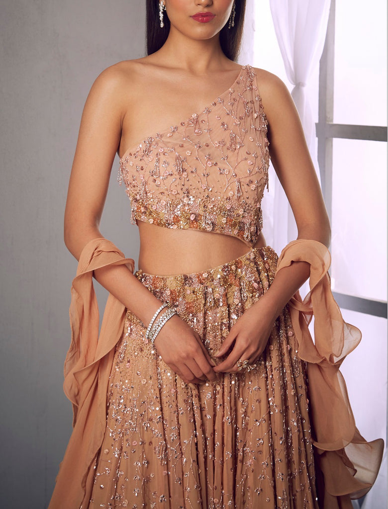 Beige cut out one shoulder embroidered gown
