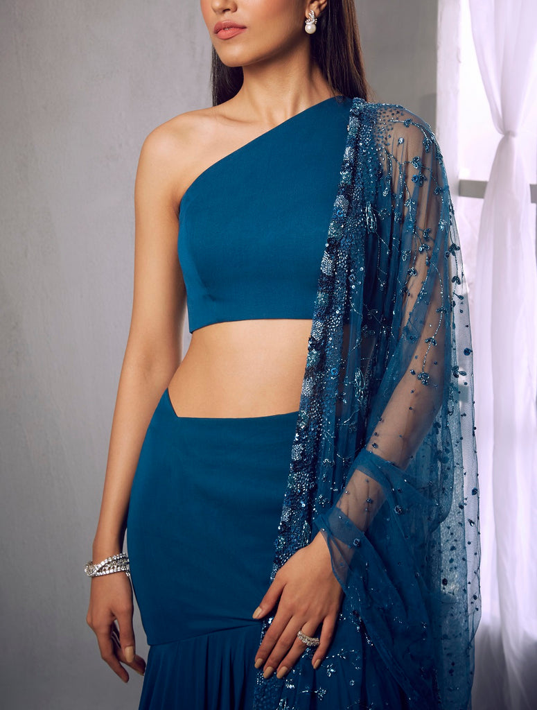 Dark blue crop blouse with layered skirt