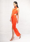 Orange Draped One Shoulder Dress