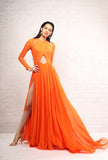 Orange Full Sleeve Cut out Gown