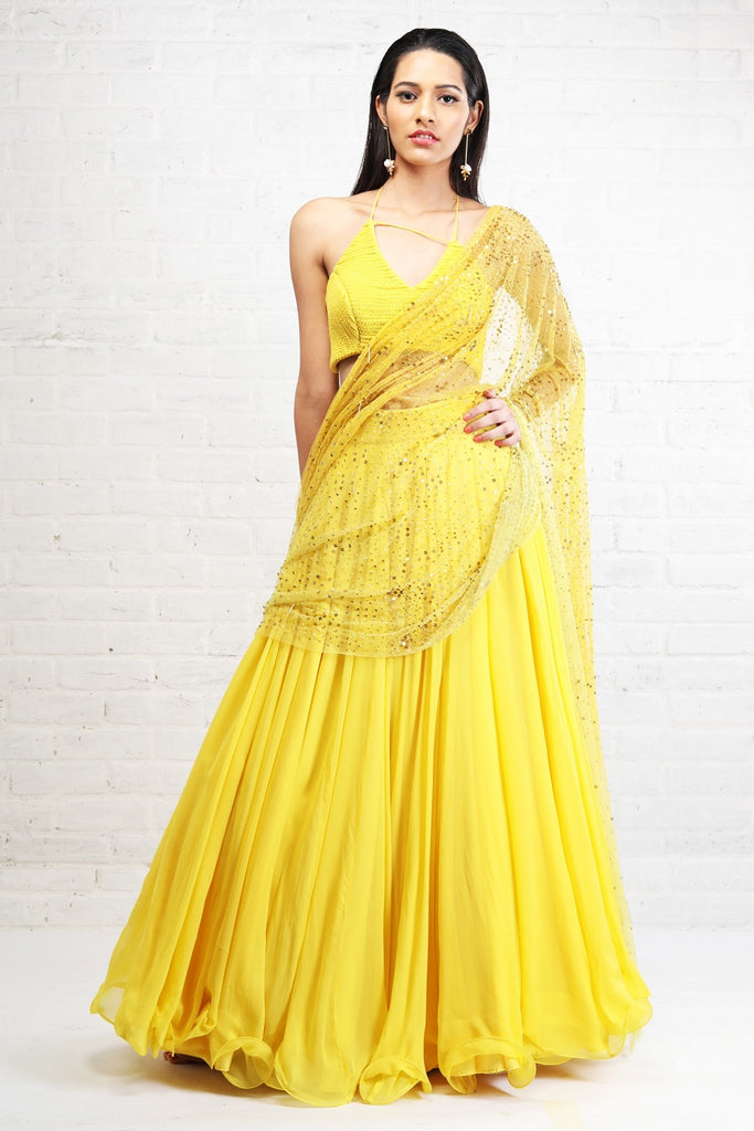 Yellow Braided Blouse and Lehenga
