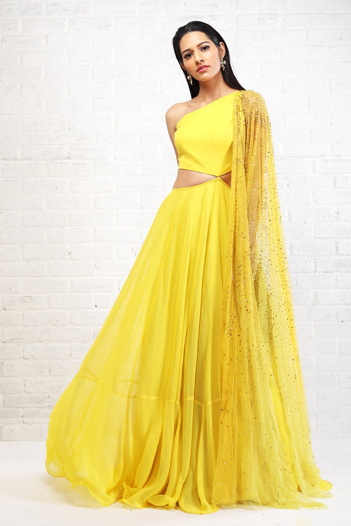 Yellow Cut Out Anarkali with Dupatta