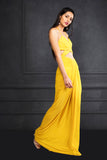 Yellow Draped Long Strapless Dress