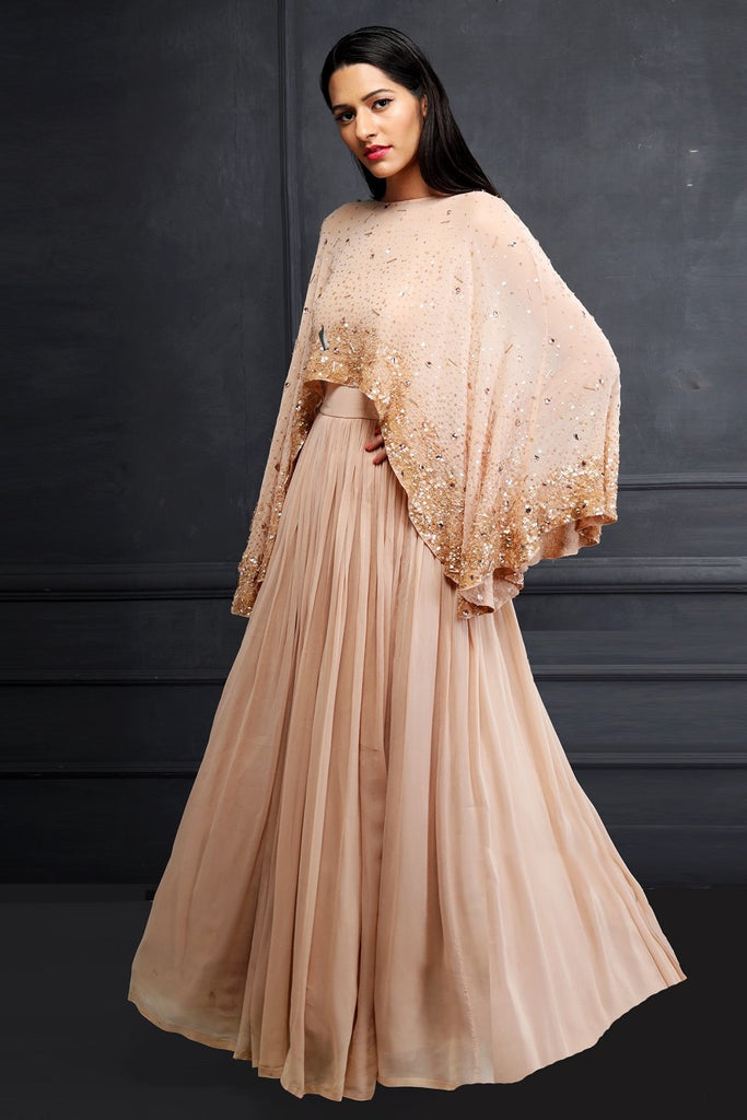 Peach Cape Anarkali
