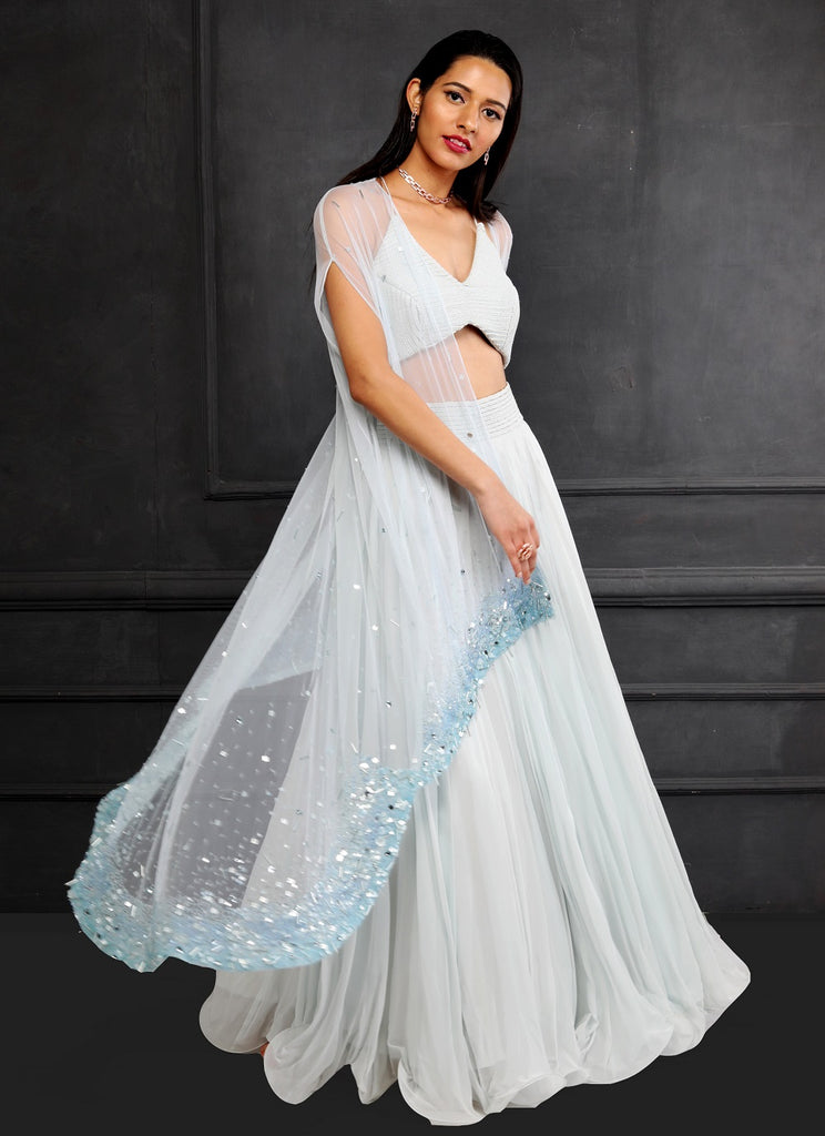 Ice blue Lehenga with Braided Blouse and Cape