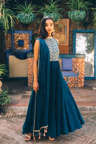 The Navy & Grey Feather Lehenga - Ready To Ship