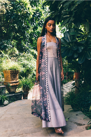 Grey Embroidered Gown- Ready to Ship