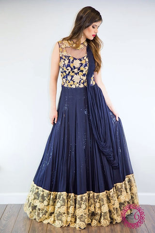 Adorne Black Gradient Anarkali