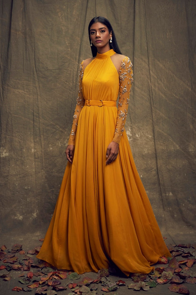 Mustard Gown with Embellished Long Sleeves