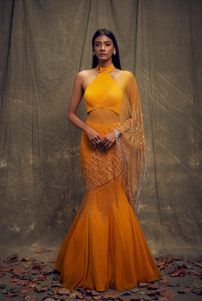 Mustard Fishtail Skirt and High Neck Blouse