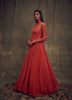 Coral Gown with Embellished Long Sleeves