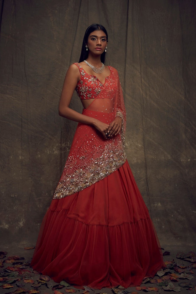 Rust Embellished Lehenga and Sleeveless Blouse