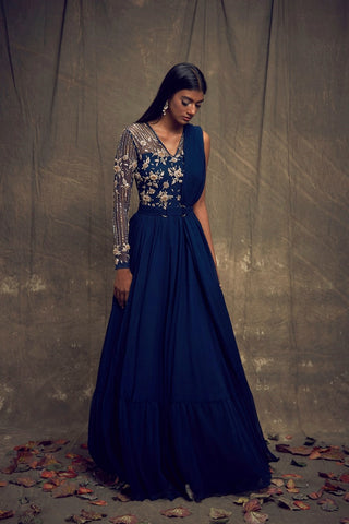 One Shoulder Blue Net Drape Gown