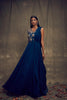 Dark Teal Blue Single Sleeve Embellished Gown