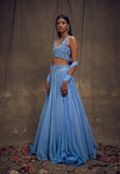 Light Blue Embellished Lehenga with Cut Out Blouse