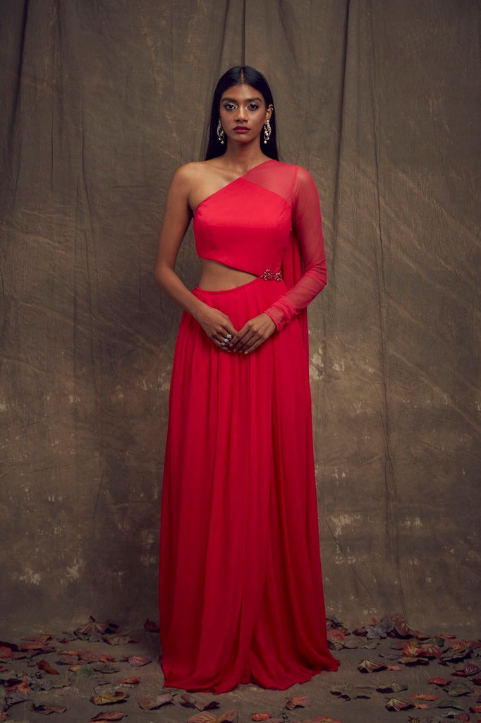 Hot Pink One Sleeve Cut Out Gown