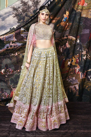 Navy Embroidered and Striped Lehenga