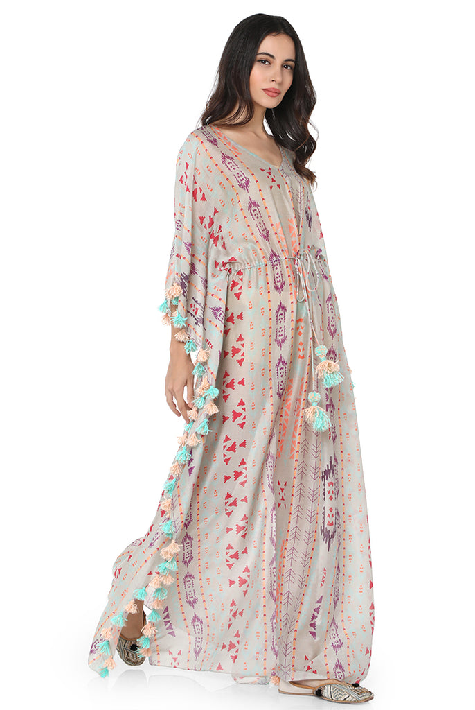 Grey Printed Kaftan